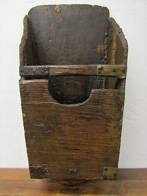 Beautiful Large Rustic Antique Hand Hewn Wood Rice Grain Scoop Bucket