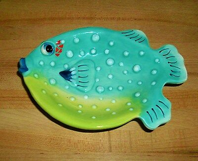 J. McCall Blue Sky Icing On The Cake Ceramic Puffer Fish Shallow Dish Bowl 2005
