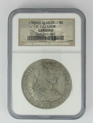 1783 Mo FF Mexico 8R NGC Genuine SHIPWRECK EL CAZADOR $1 START FREE SHIPPING
