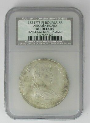 1821 PTS PJ Bolivia 8R NGC AU AREQUIPA HOARD $1 START FREE SHIPPING