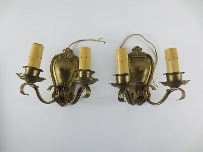 Vtg Hammered Brass over Copper Wall Light Fixture Candle Sconce Pair (2)