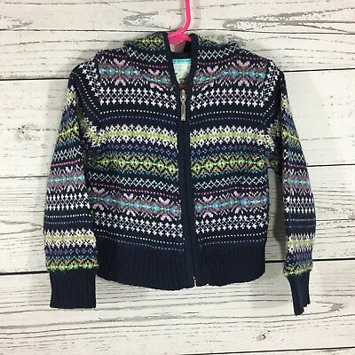 Baby Gap Girls  Size 4T Heavy Knit Sweater with Hood Zipper Front Multi Color