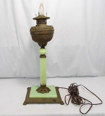 Antique Cast Iron Brass Electric Oil Lamp Parts JADEITE Ornate ART DECO NOUVEAU
