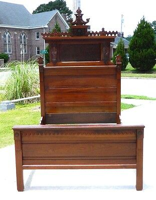 High Back Walnut and Burl Victorian Eastlake Bed~~FULL SIZE~~ circa 1875