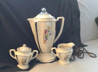 Vintage Art Deco PORCELIER Electric Percolator Coffee Pot Sugar & Creamer