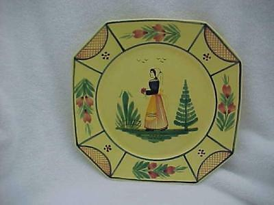 Quimper, France Breton Woman Soleil 10-inch Dinner Plate No. 1 -- MINT and FAB