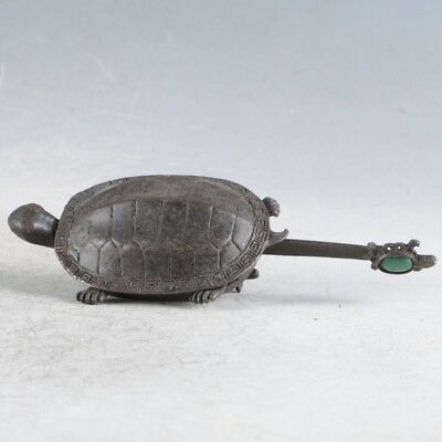 Rare Collectibles Chinese Old Style Brass Handmade Tortoise Lock With Key LLS13