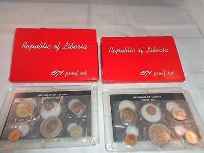 Lot of 2 1971 REPUBLIC OF LIBERIA 6 Coin Proof Sets with Goddess of Liberty $1