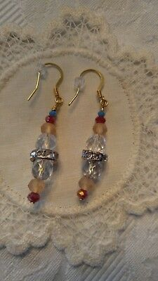 Hand Crafted Jewelry Earrings Swarovski Crystals Glass Vintage Buttons French H