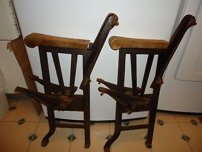 Antique Cast Iron Folding Theater Seat End Support Parts (2) for Bench Project