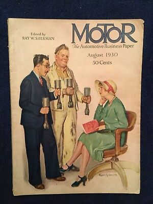 1930 August Motor Magazine - Illustrated Front Cover - Vintage Car Ads