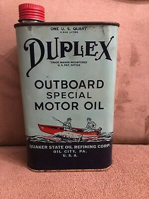 Vintage Quaker State Duplex Brand 1 Qt Outboard Motor Oil Can