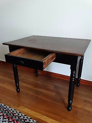 Antique Primitive Country Farm Work Table Desk 1 Drawer Turned Legs
