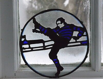 Stain Glass Window, Sun Catcher Antique Yale Football