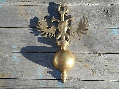 """Large 17"""" Tall Cast Brass Russian Double Headed Eagle Crest Wall Decor--4 Pounds"""