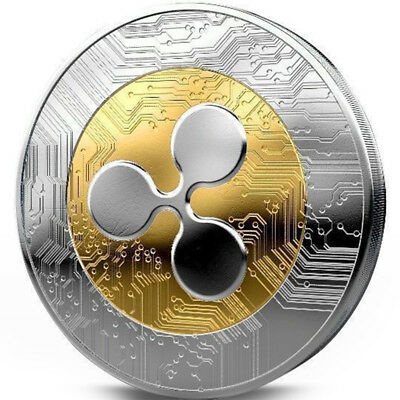 Gold +Silver Ripple coin Commemorative Round Collectors Coin XRP Coin With Case