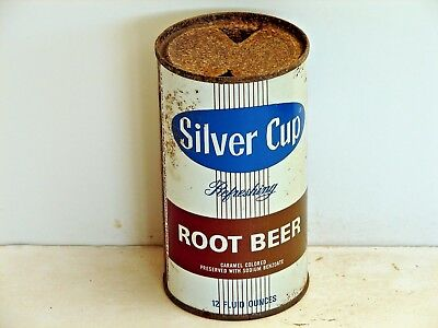 Silver Cup Root Beer; Franklin Park, IL; Steel solid top / flat top soda pop can