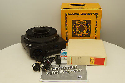 Kodak Carousel 760H Auto-Focus Projector with tray, remote, lens, and extra bulb
