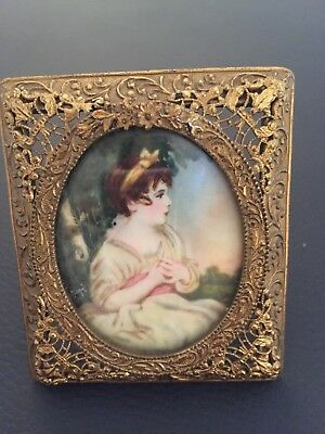 Antique French Miniature Portrait Painting Sevres? Gold Gilt Bronze Frame Signed
