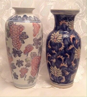 """Set Of 2 Hand Painted Asian / Chinese 10"""" Porcelain Vintage Vases"""