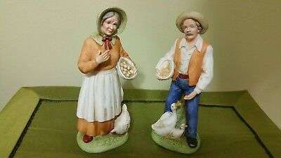 "Home Interiors Homco Porcelain 10"" tall Old man and Old woman farmer set  #1426"