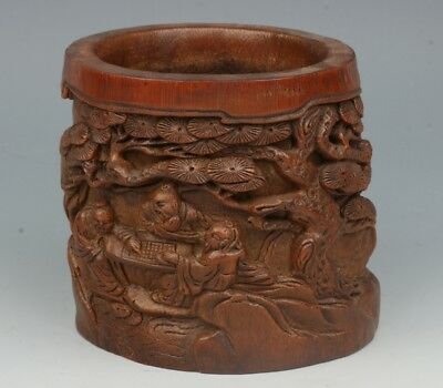 Chinese Exquisite Hand-carved pine Old man child carving bamboo Brush Pots