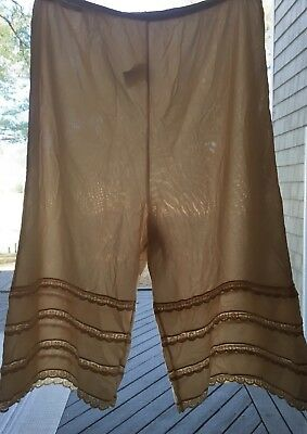 Vtg Sears Beige Long Leg Tiered Laced Bloomers Pettipants Sissy Panties M/L