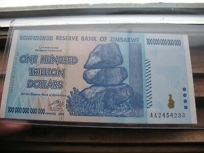 Zimbabwe 100 Trillion Dollar Note AA 2008 series UNCIRCULATED WOW!