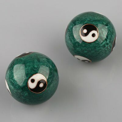 Green Color Chinese Cloisonne Health Exercise Stress Baoding Balls Ying Yang