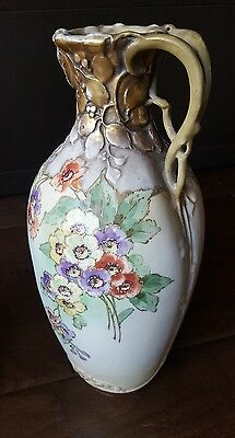 "Stunning! Antique RSTK Turn Teplitz Bohemia Austria 14"" Floral Vase Pitcher gold"