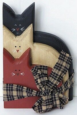 Stacked CATS  Country Primitive Americana Wood Patriotic Cat Shelf sign decor