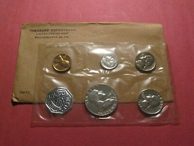 1961 US MINT SILVER PROOF SET- 5 Coins (With Original Envelope and Detail Sheet)
