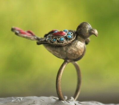 Bird Ring Rare Old Stunning  Islamic Agate Unique Bronze Ring  size 10
