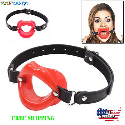 Red Silicone Sissy Bimbo Open Mouth Gag Lips w/ Strap O-Ring Lip Ball Restraints