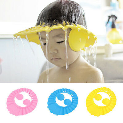 Baby Kids Shampoo Bath Bathing Shower Cap Hat With Ears Protector NEW