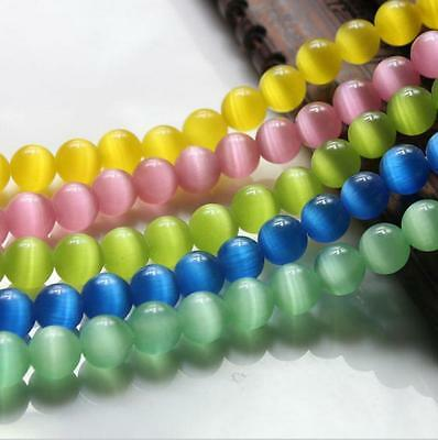 Wholesale 50X Cats Eye Gemstone Round Spacer Loose Beads Jewelry Finding DIY 8MM