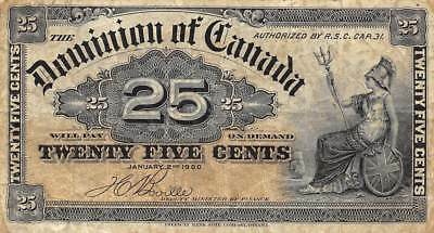 Canada  25  Cents  2.1.1900  P 9b  Circulated Banknote R1217