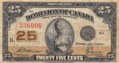Canada  25  Cents  7.2.1923  P 11b  Series K  Circulated Banknote