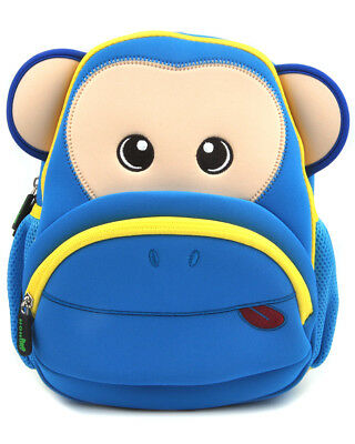 Kids Toddler Backpack Cute Kindergarten Children Schoolbag Cartoon Blue Monkey