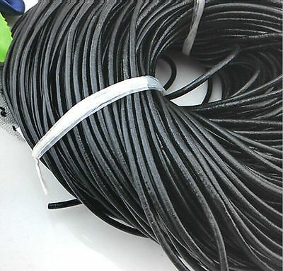 3/10M Black Real Leather Round String Cord Necklace Jewelry Making DIY 1.5/2.0MM