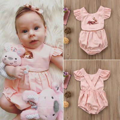 Easter Infant Baby Girl Kid Cotton Bunny Romper Bodysuit Playsuit Outfit Clothes