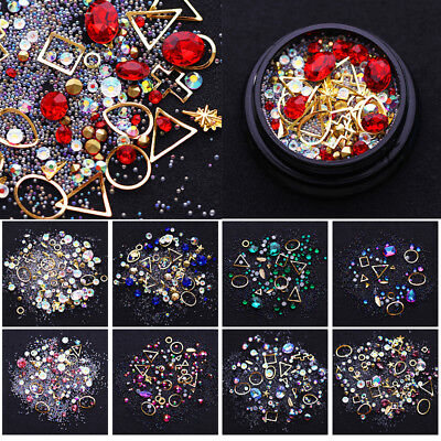 Multi-color Acrylic  Nail Art Rhinestones Alloy Metal Frame  3D Stickers