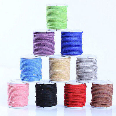 Lots 3M Genuine Leather Suede Flat Cord Thread Necklace Jewelry Making Craft 3MM