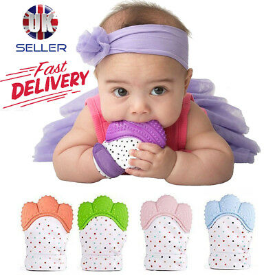 1X Baby Silicone Mitt Teething Mitten Teething Glove Candy Wrapper Sound Teether
