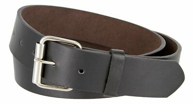 "Hagora Men 1.5"" Wide Genuine Smooth Leather Silvered Roller Buckle Snap Belt"