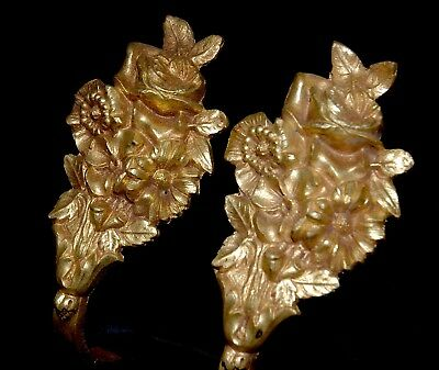 Pair of Antique brass French Curtain ormolu TieBacks Flower Bouquets