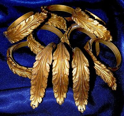 Set of 10 Antique French Heavy Solid Ormolu Bronze/ Brass Curtain Rings 2 1/2""
