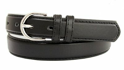 """Hagora Women 1-1/8"""" Wide Bonded Leather Narrow Stitched Silver Oval Buckle Belt"""