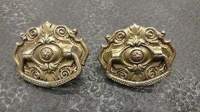 Antique Vtg Set of 2 Pressed Tin (?) Ornate Drawer Handle Pulls Hardware Parts