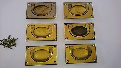 Job Lot Of 6 Reclaimed Antique / Vintage Brass drawer handles In Used Condition